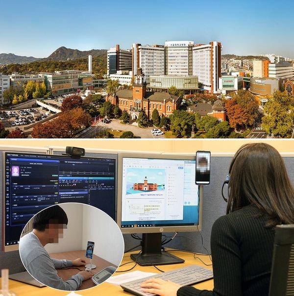 SNUH全貌(上)在首尔监测中心内,一位护士通过视频通话,查看一位待在闻庆市生命治疗中心的病人的情况(下)